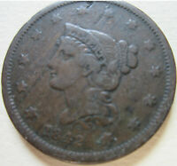 1842 US BRAIDED HAIR LARGE CENT COIN. C423