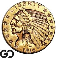 1916 S HALF EAGLE $5 GOLD INDIAN TOUGHER DATE SAN FRANCISCO