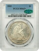 1841 $1 PCGS/CAC MINT STATE 63 LOW MINTAGE DATE - LIBERTY SEATED DOLLAR