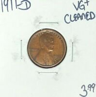 1911-D LINCOLN WHEAT CENT  VG  CLEANED  COIN