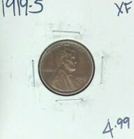 1919-S LINCOLN WHEAT CENT  EXTRA FINE   COIN