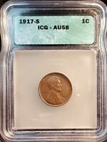 1917 S  LINCOLN HEAD CENT   ICG  AU-58  PROBLEM FREE  COMBINED SHIPPING AVAIL