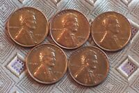 1953-P/D/S  1951-P/D LINCOLN WHEAT CENT'S   5 COIN   ITM4622