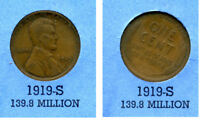 LINCOLN HEAD WHEAT CENT 1919 S AVERAGE CIRCULATED UNITED STATES 1 PENNY COIN B4