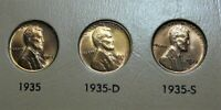 1935 P-D -S LINCOLN CENT TRIO LUSTROUS RED MOSTLY RED - UNC - CHOICE 1