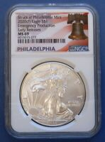 2020-P SILVER EAGLEEMERGENCY PRODUCTIONNGCMINT STATE 69..ER..PHILADELPHIA LABEL