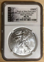 STRUCK AT WEST POINT NGC MS70 2012 .999 FINE FIRST RELEASE $1 SILVER EAGLE