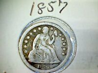 1857  LIBERTY SEATED SILVER DIME