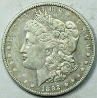 1892 $1  MORGAN SILVER DOLLAR ABOUT UNCIRCULATED DETAILS EXTRA FINE /AU
