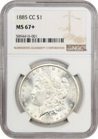 1885-CC $1 NGC MINT STATE 67 - BLAZING, WHITE GEM - MORGAN SILVER DOLLAR