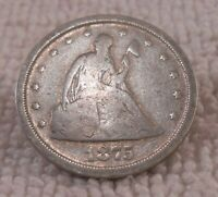 1875 S SEATED LIBERTY TWENTY CENT 20C SILVER   CIRCULATED