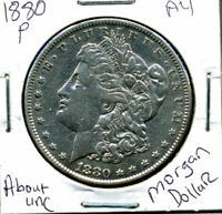 1880 P  AU MORGAN DOLLAR 100 CENT  ABOUT UNCIRCULATED 90 SILVER US $1 COIN 827