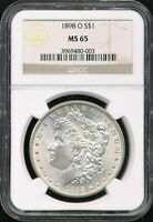 1898-O MORGAN SILVER DOLLAR NGC MINT STATE 65 STONE COLD ORIGINAL PATINA