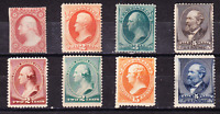 US COLLECTION: 8 OLD US 19TH CENTURY MINT STAMPS M/NG CV $35