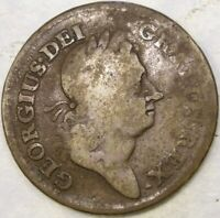 1723 ROSA AMERICANA HALF PENNY CROWNED ROSE WELL WORN  COLON