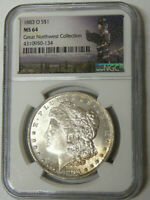 NGC MINT STATE 64 1883-O MORGAN SILVER DOLLAR GREAT NORTHWEST COLLECTION