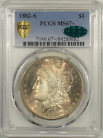 1882-S MORGAN DOLLAR - PCGS MINT STATE 67 SIMPLY STUNNING, NEAR PERFECT CAC APPROVED
