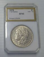 1878 MORGAN SILVER DOLLAR, 7 TAIL FEATHERS, EXTRA FINE, BEAUTIFUL COIN