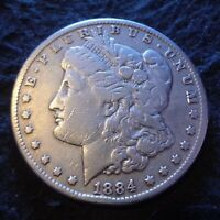 1884-CC MORGAN SILVER DOLLAR - CHOICE FINE F DETAILS FROM THE CARSON CITY MINT