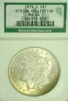 1879-S MORGAN SILVER DOLLAR BINION NGC MINT STATE 64    326