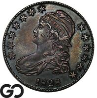 1828 CAPPED BUST HALF DOLLAR CHOICE AU  EARLY SILVER 50C