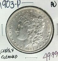 1903-P MORGAN SILVER DOLLAR  AU  GENTLY CLEANED  COIN