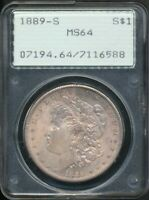 1889-S MORGAN SILVER DOLLAR PCGS MINT STATE 64 HOUSED IN A GENERATION 1
