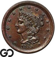 1855 HALF CENT BRAIDED HAIR SHARP CHOICE BU
