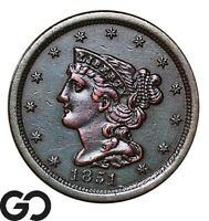 1851 HALF CENT BRAIDED HAIR CHOICE AU  COLLECTOR COPPER