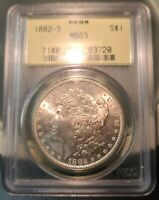 1882-S MORGAN DOLLAR PCGS MINT STATE 63 OGH ROSE COLORED TONED REV SWEET COIN