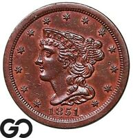 1851 HALF CENT BRAIDED HAIR CHOICE AU   EARLY COLLECTOR COPP