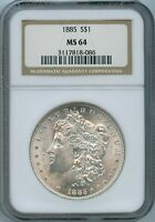 1885 P NGC MINT STATE 64 MORGAN SILVER DOLLAR $1 US MINT 1885-P NGC MINT STATE 64 PQ COIN