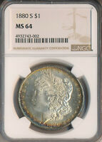 1880-S MORGAN SILVER DOLLAR NGC CERTIFIED MINT STATE 64 SHIPS FREE