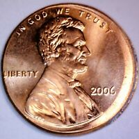 2006  DATE ERROR OFF CENTER LINCOLN CENT COIN CH BU RED O/C