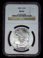 BEAUTIFUL 1881-S MINT STATE 66 MORGAN SILVER DOLLAR GRADED BY NGC