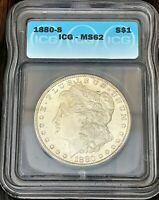 ONE MORGAN SILVER  DOLLAR 1880-S  ICG MINT STATE 62