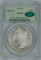 1881 S PCGS MINT STATE 64 CAC MORGAN SILVER DOLLAR $1 US MINT COIN 1880-S MINT STATE 64 CAC OGH