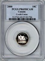 CANADA 2000 TEN CENTS PCGS PR69DCAM 100TH ANNIV OF CREDIT UNIONS   STERLING