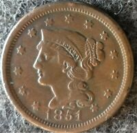 1851 US BRAIDED HAIR LIBERTY HEAD LARGE CENT   EARLY COPPER