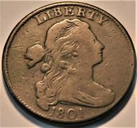 1801 DRAPED BUST LARGE CENT NICE LOOKING BETTER TYPE COIN PENNY 1C COIN