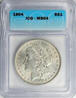 1904 MORGAN SILVER DOLLAR ICG CERTIFIED MINT STATE 64