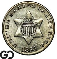 1853 THREE CENT SILVER TOUGH THIS NICE SHARP & LUSTROUS