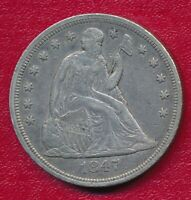 1847 SEATED LIBERTY SILVER DOLLAR   CIRCULATED  FINE FREE SHIP