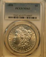 1898 MORGAN DOLLAR   PCGS MINT STATE 63    FOR A 63