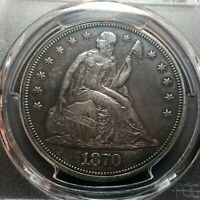 1870-CC PCGS AU-DETAIL SEATED LIBERTY SILVER DOLLAR  LOOKS AU-55