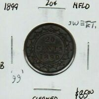 1899 NEWFOUNDLAND CANADA STERLING SILVER 20 CENTS CENT 92.5
