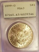 1899 0 MORGAN DOLLAR PCGS MINT STATE 63 OGH OLD RATTLER 346