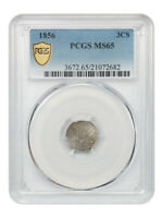 1856 3CS PCGS MINT STATE 65 - 3-CENT SILVER - GREAT TYPE COIN
