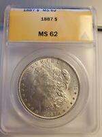 1887 MORGAN SILVER DOLLAR ANACS MINT STATE 62