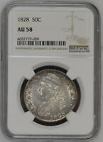 1828 NGC AU58 CAPPED BUST SILVER HALF DOLLAR INCREDIBLE LUSTER